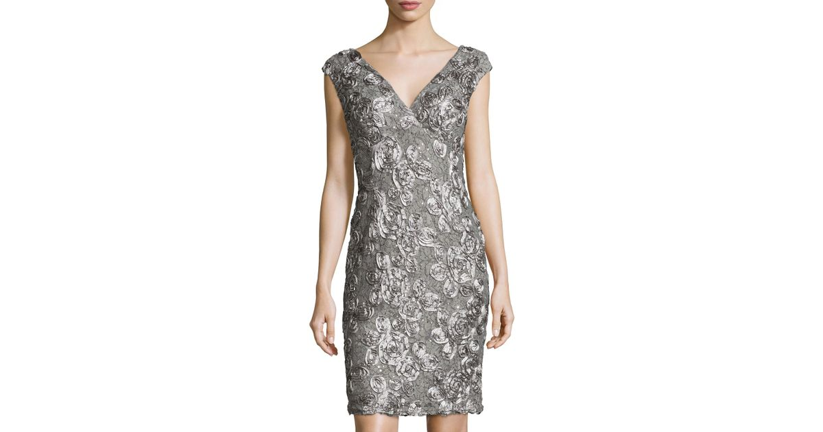 8822519718 Marina Cap-sleeve Sequined Lace Cocktail Dress in Gray - Lyst