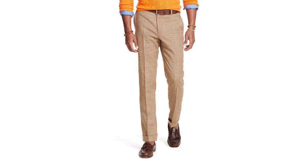 4906ec07d4d Lyst - Polo Ralph Lauren Slim-fit Glen Plaid Trouser in Natural for Men