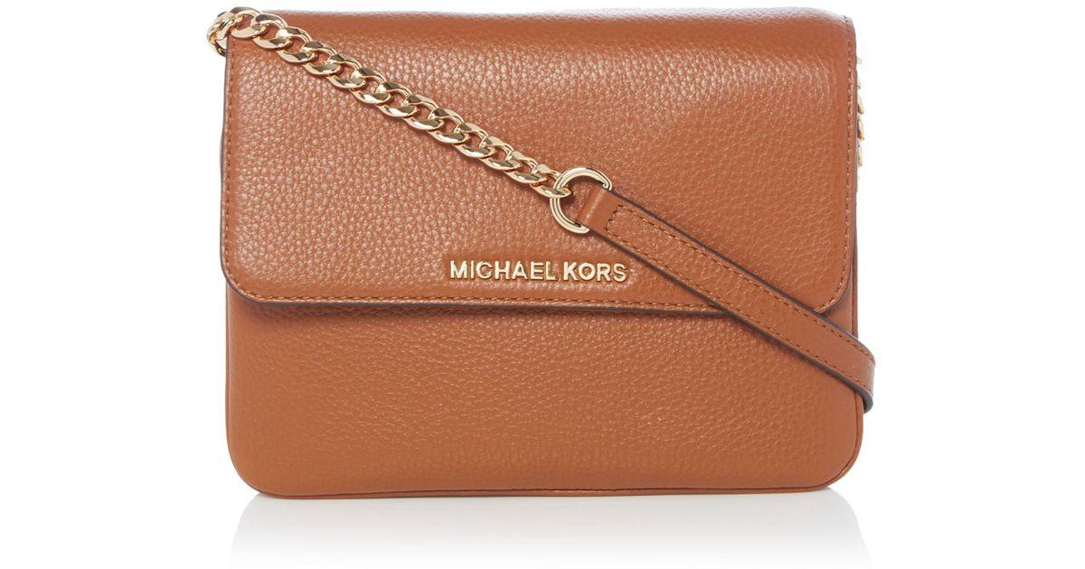 eaafa58b8634 ... 50% off lyst michael kors bedford tan double gusset cross body bag in  metallic de4c9