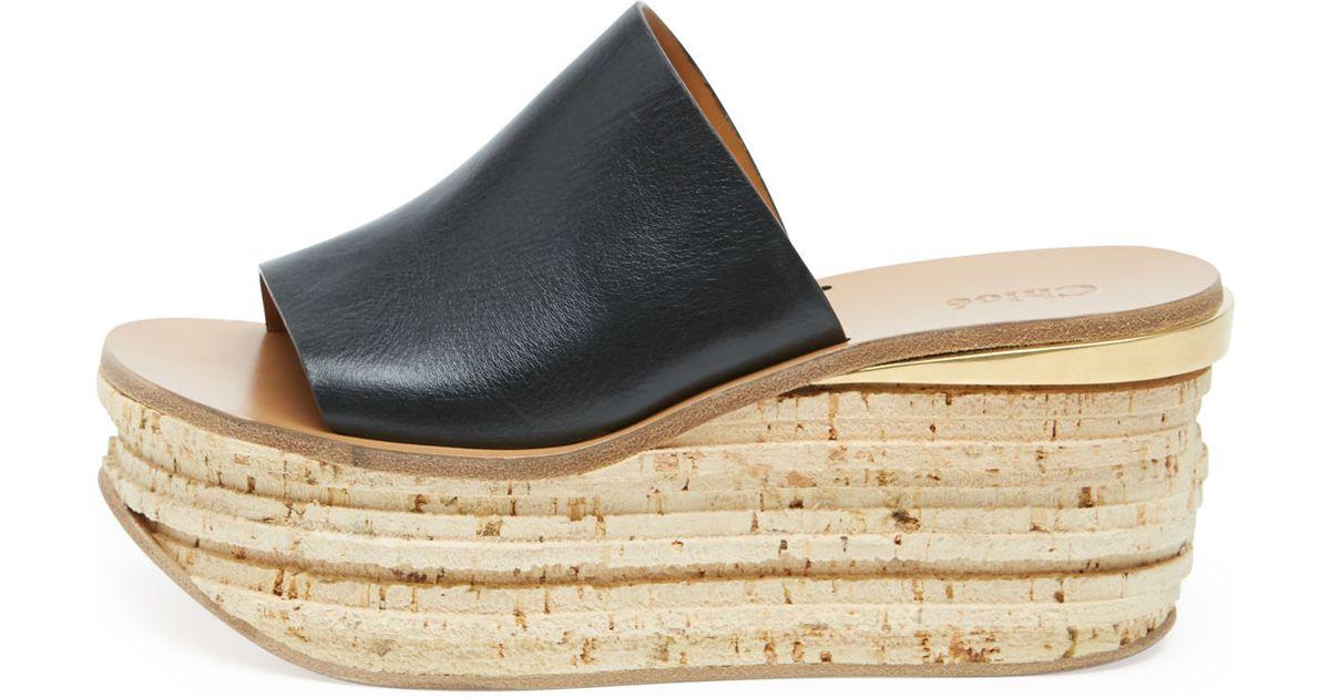 21be1f992454 Lyst - Chloé Slide Cork Wedge Sandal in Black