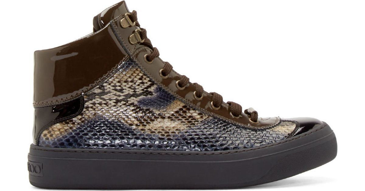 77feaef39d76 ... cheap jimmy choo navy python argyle hightop sneakers in blue for men  lyst 18187 efa38
