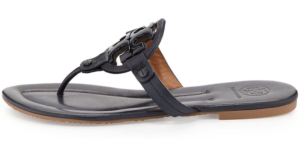 83fd02ec6 Lyst - Tory Burch Miller 2 Logo Leather Flat Sandal in Blue