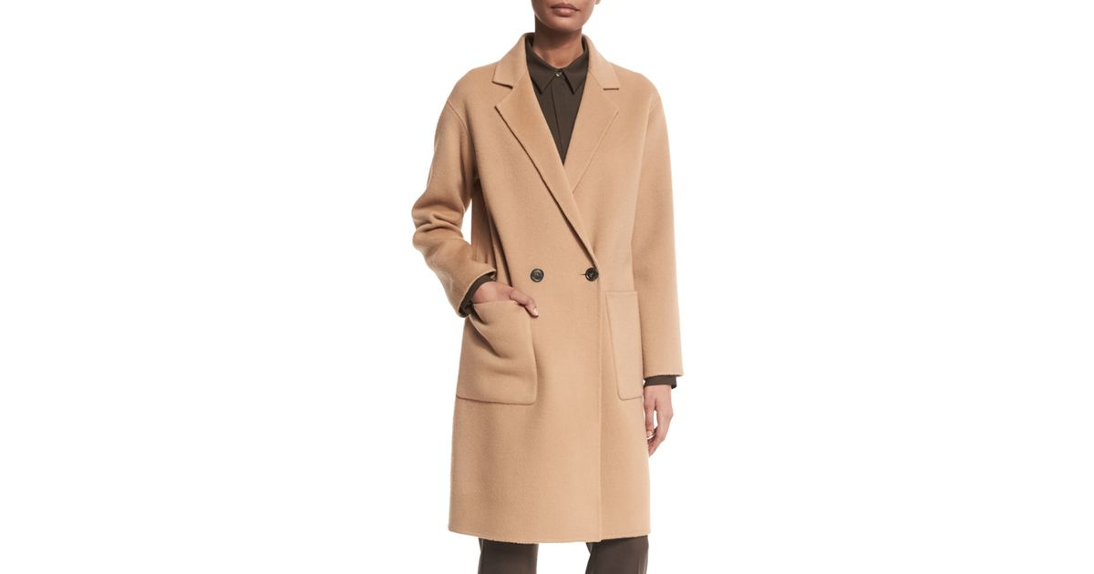 Theory Cerlita Double-face Wool/cashmere Coat in Natural for Men ...