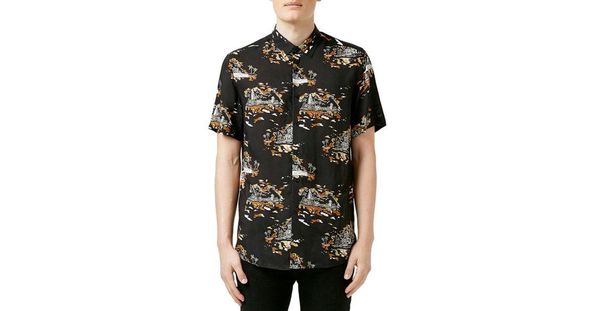 TOPMAN Synthetic Short Sleeve Print Shirt In Black For Men