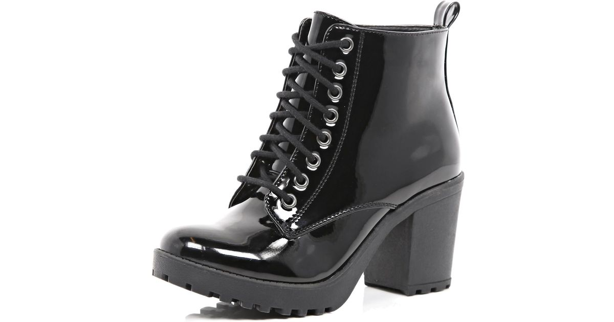 17d3d8f11ed River Island Black Patent Lace Up Block Heel Ankle Boots in Black - Lyst