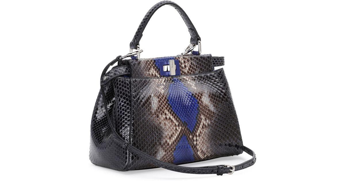 9f38c7d563a4 Lyst - Fendi Peekaboo Mini Python Satchel Bag in Blue