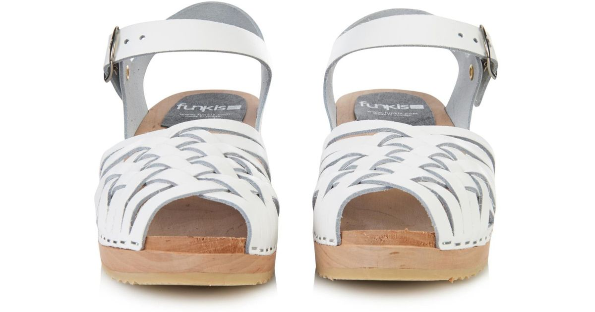 Funkis 150 Woven Leather Clogs In White Lyst