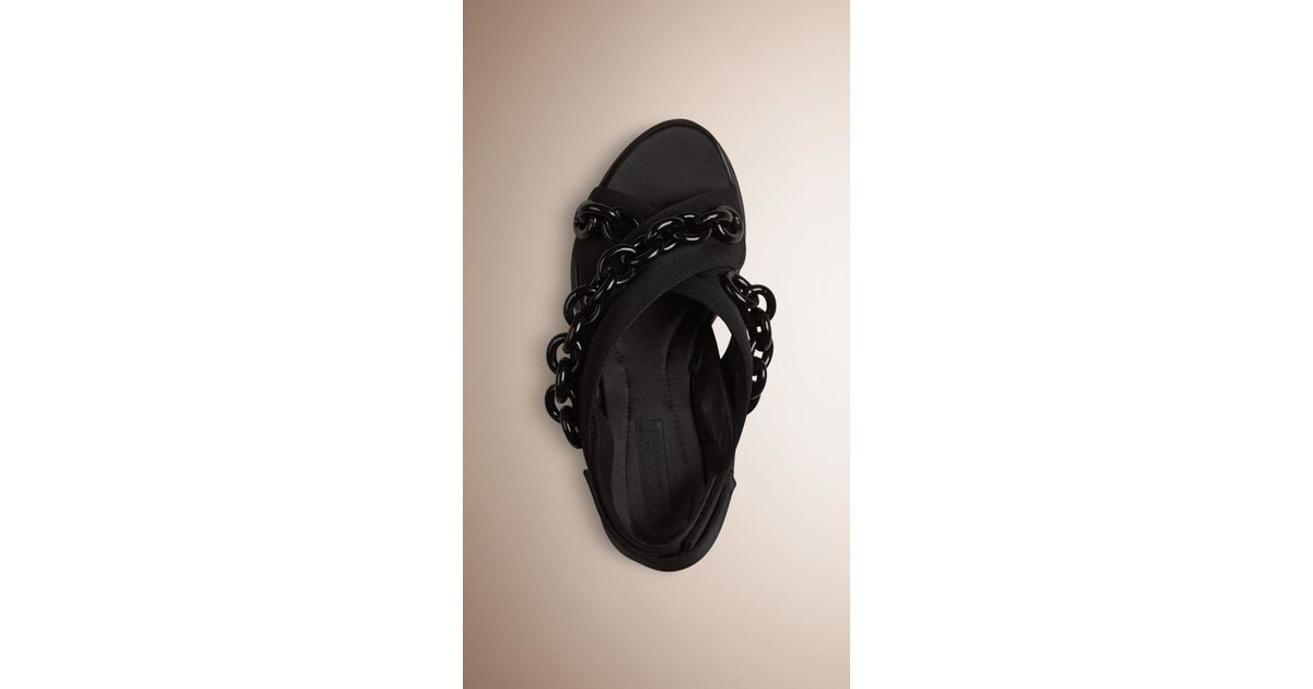 burberry sport chain embellished sport sandals in black lyst