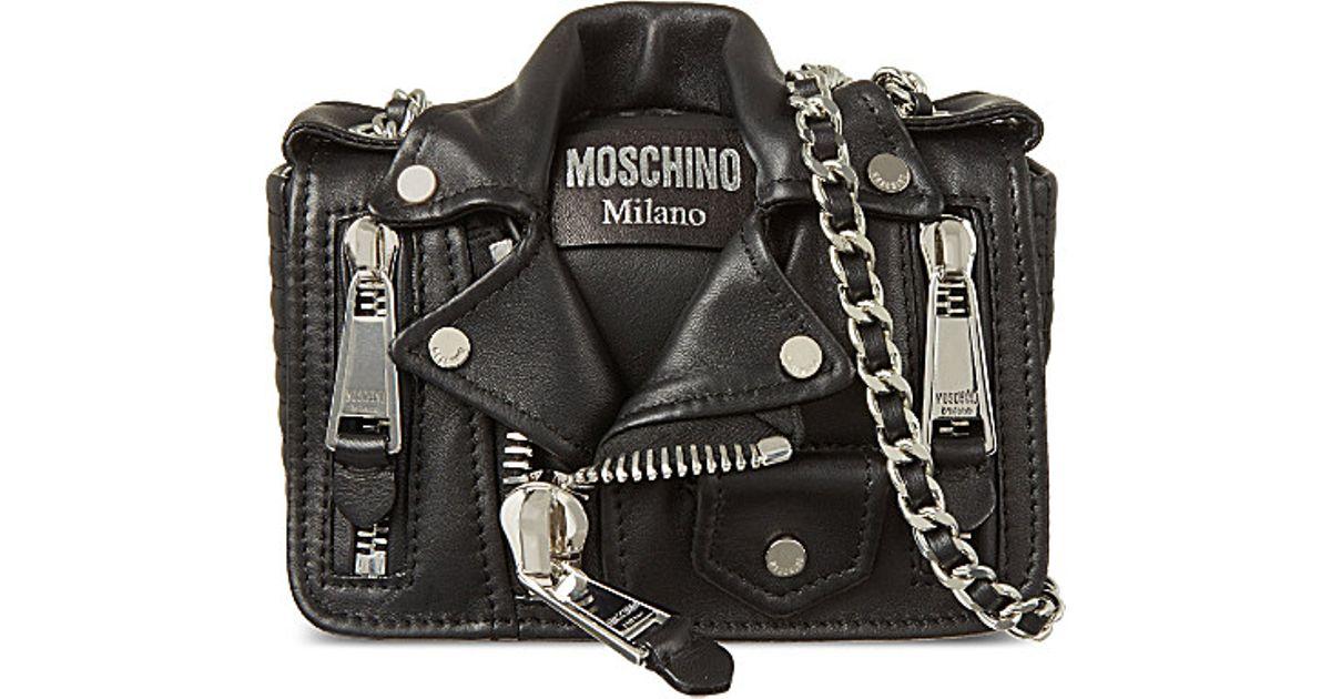 b5a7c8e8815 Moschino Biker Jacket Cross-body Bag in Black - Lyst