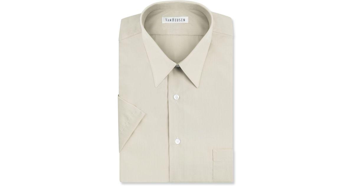 Van heusen poplin solid short sleeve dress shirt in beige for Van heusen men s short sleeve dress shirts