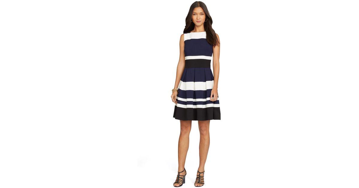 Lyst Lauren By Ralph Lauren Striped Sleeveless Dress In Blue