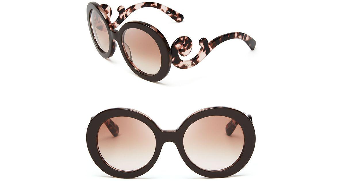 b78757e1adf ... new style lyst prada round baroque sunglasses in brown dbe05 a141f