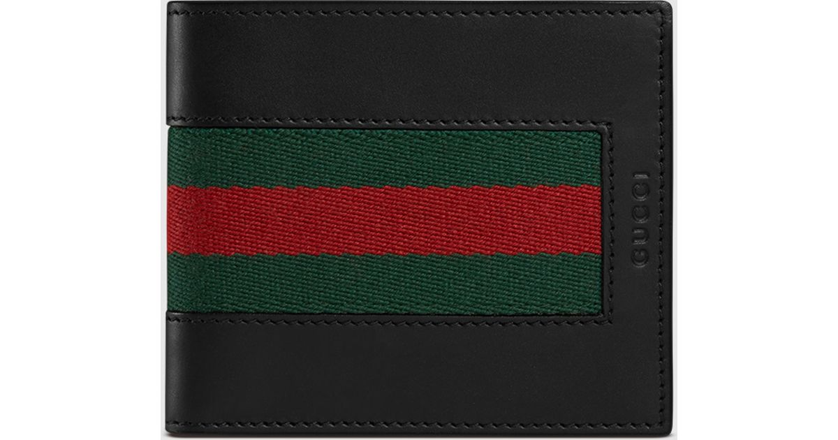 78fdd4dcee0 Lyst - Gucci Web Leather Wallet in Black for Men