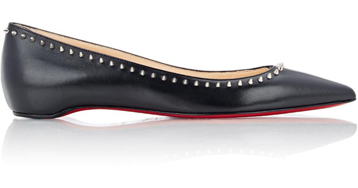 a46964fbf49 Christian Louboutin Black Anjalina Spiked Leather Ballet Flats