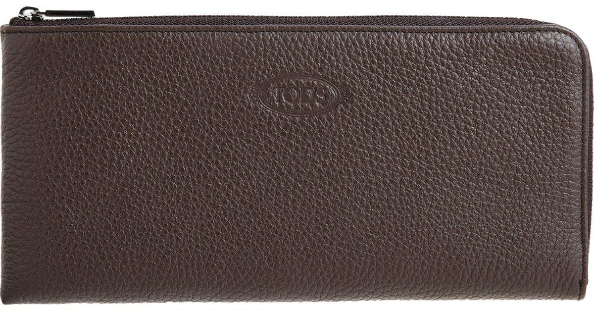 Lyst Tod S Zip Around Boarding Pass Wallet In Brown For Men