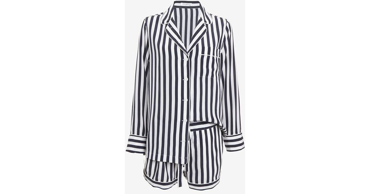e43b7cac1b Lyst - Equipment Lillian Silk Stripe Pajama Set in Blue