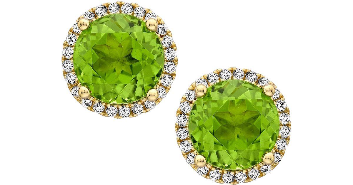 Lyst Kiki Mcdonough Grace Green Peridot Diamond Stud Earrings In