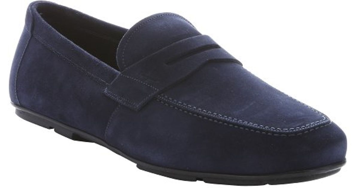 37abea912b8 Ferragamo Marine Blue Suede  nuevo  Penny Loafers in Blue for Men - Lyst