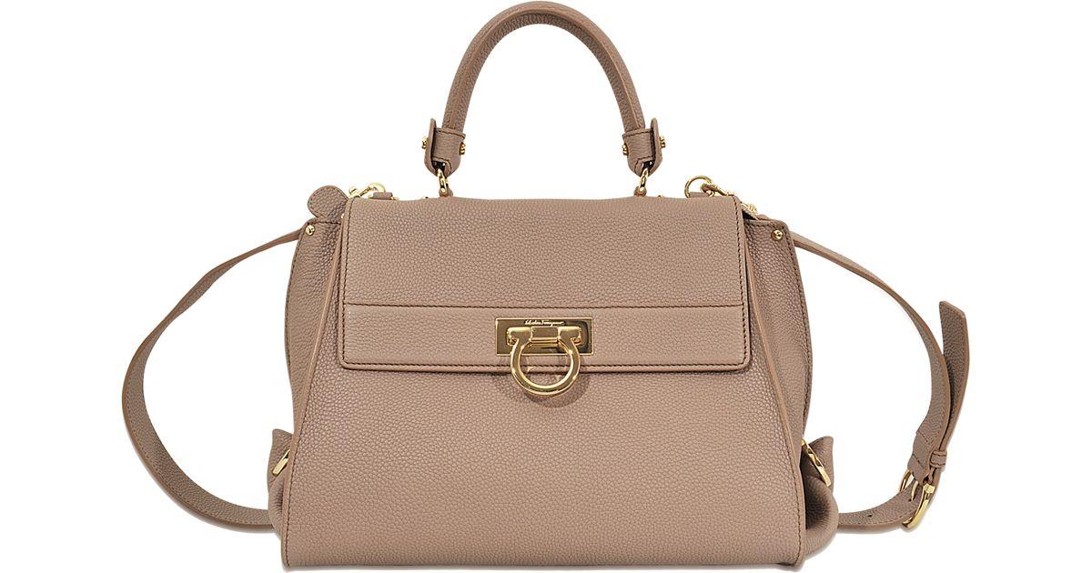 031bf849e1cc Lyst - Ferragamo Sofia Medium Top Handle Bag in Natural