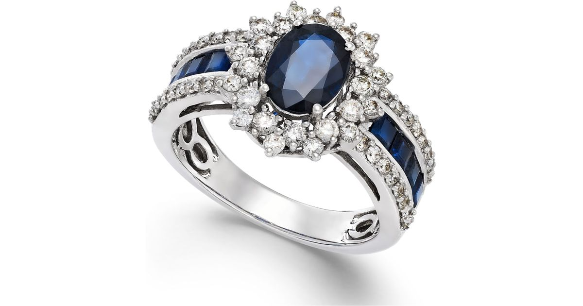 Macy s Sapphire 2 1 5 Ct T w And Diamond 3 4 Ct T w Ring In 14k W