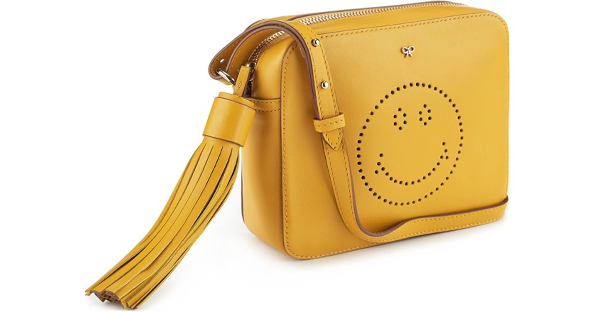 Lyst Anya Hindmarch Crossbody Smiley Bag In Mustard Circus Leather Yellow