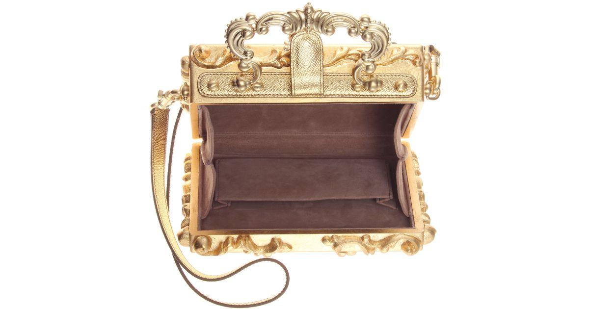 6764efe4a4d5 Lyst - Dolce   Gabbana Dolce Embellished Wooden Shoulder Bag in Metallic