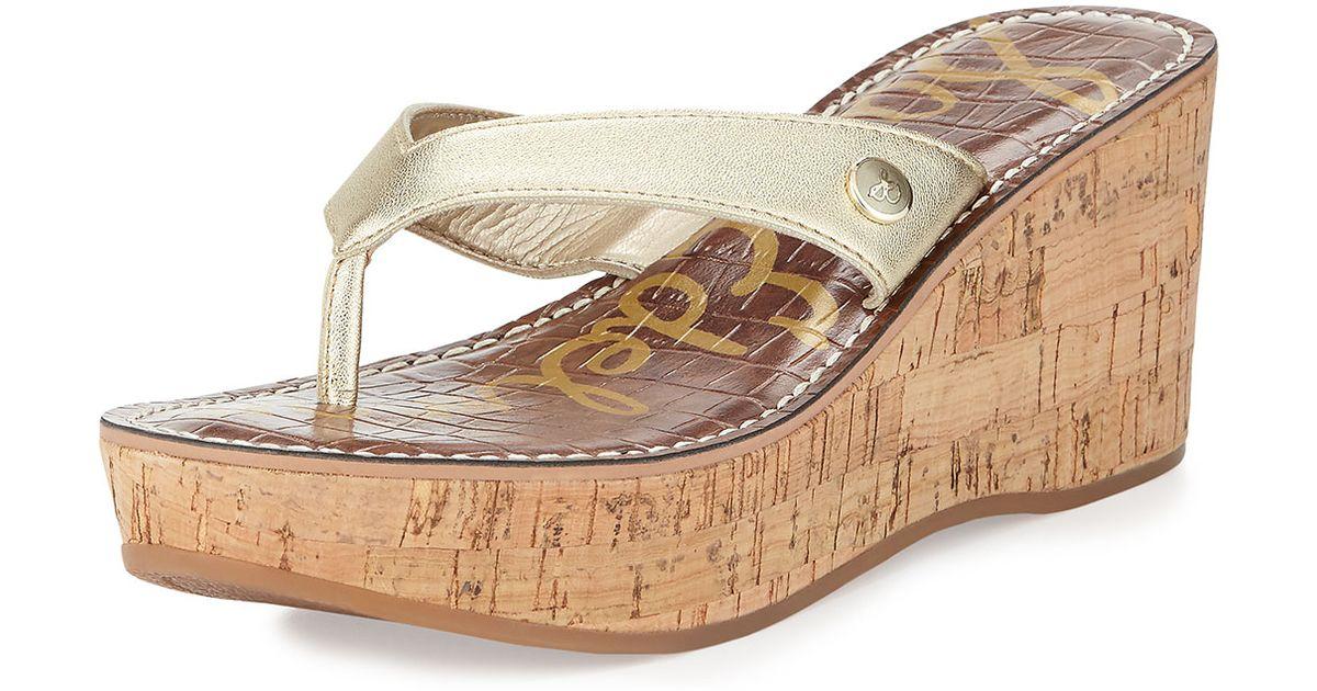 bba3da0d9839e1 Lyst - Sam Edelman Romy Patent Leather Wedge Sandal in Natural