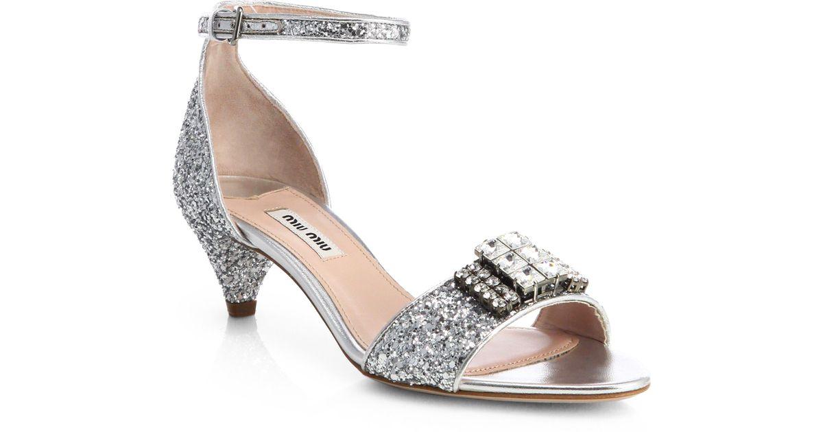 5a92555a25a Lyst - Miu Miu Jeweled Glitter Kittenheel Sandals in Metallic