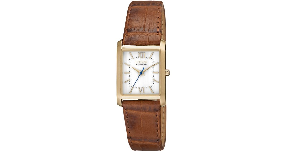 Lyst - Citizen Women s Eco-drive Brown Leather Strap Watch 25x23mm  Ep5918-06a in Brown 9c846a8497