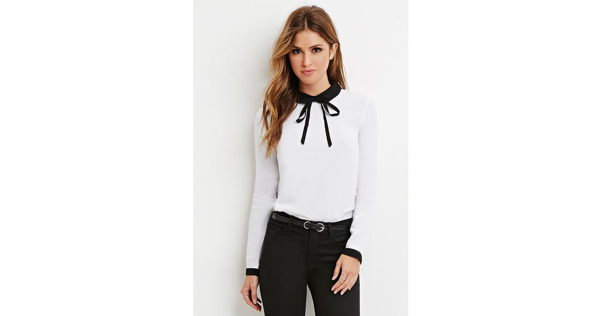 3c7ed84a7af2 Lyst - Forever 21 Contrast Peter Pan Collar Blouse in Black
