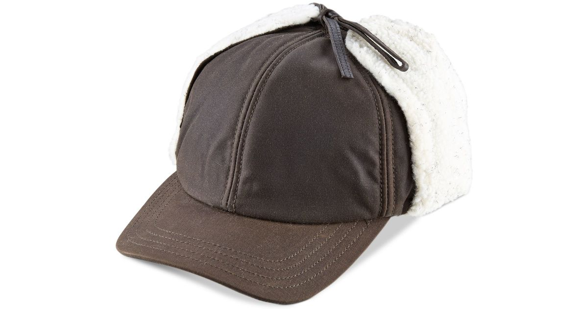 5b3526ad58db3 Woolrich Waxed Cotton Winter Trapper Cap With Sherpa Lined Earflaps in  Brown for Men - Lyst