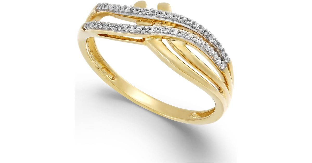 Macy s Diamond 1 10 Ct T w Double Bypass Ring In 10k Gold in Metallic