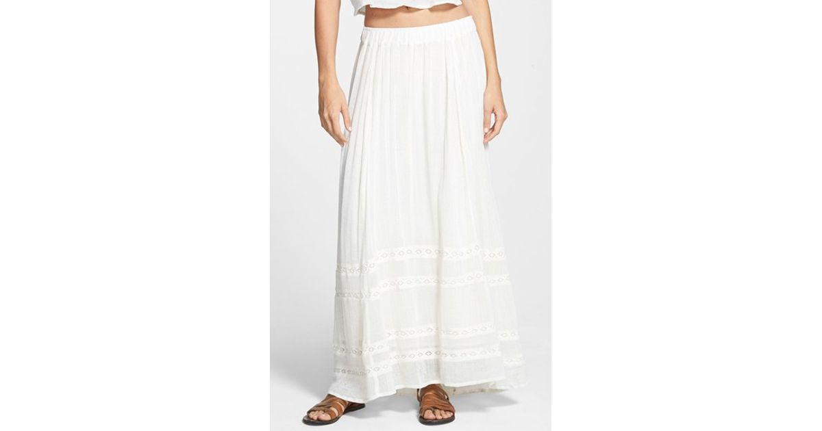 a30af1c43a Billabong 'festival Sol' Cotton Maxi Skirt in White - Lyst