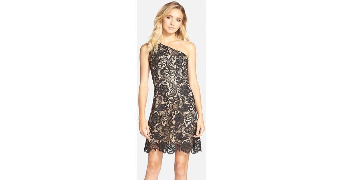 Dress The Population Black Isabella One Shoulder Lace Sheath Dress