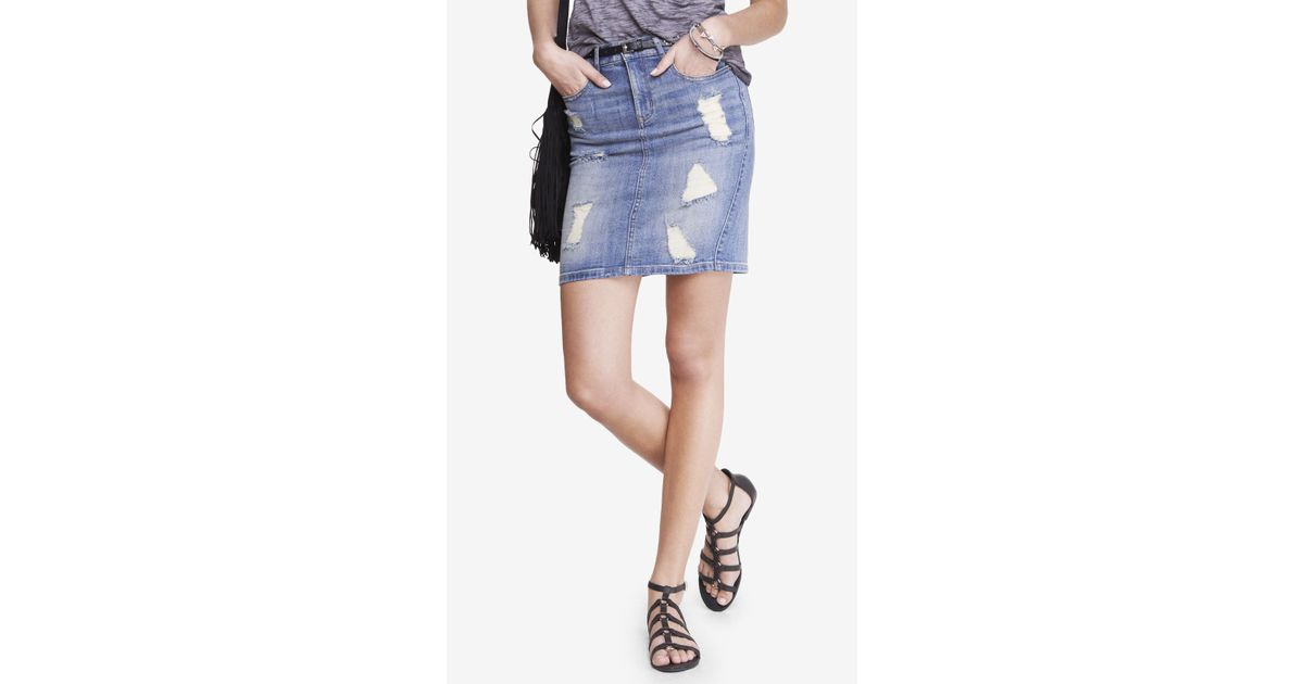 Express distressed high waist denim pencil skirt in blue for Express wash roma