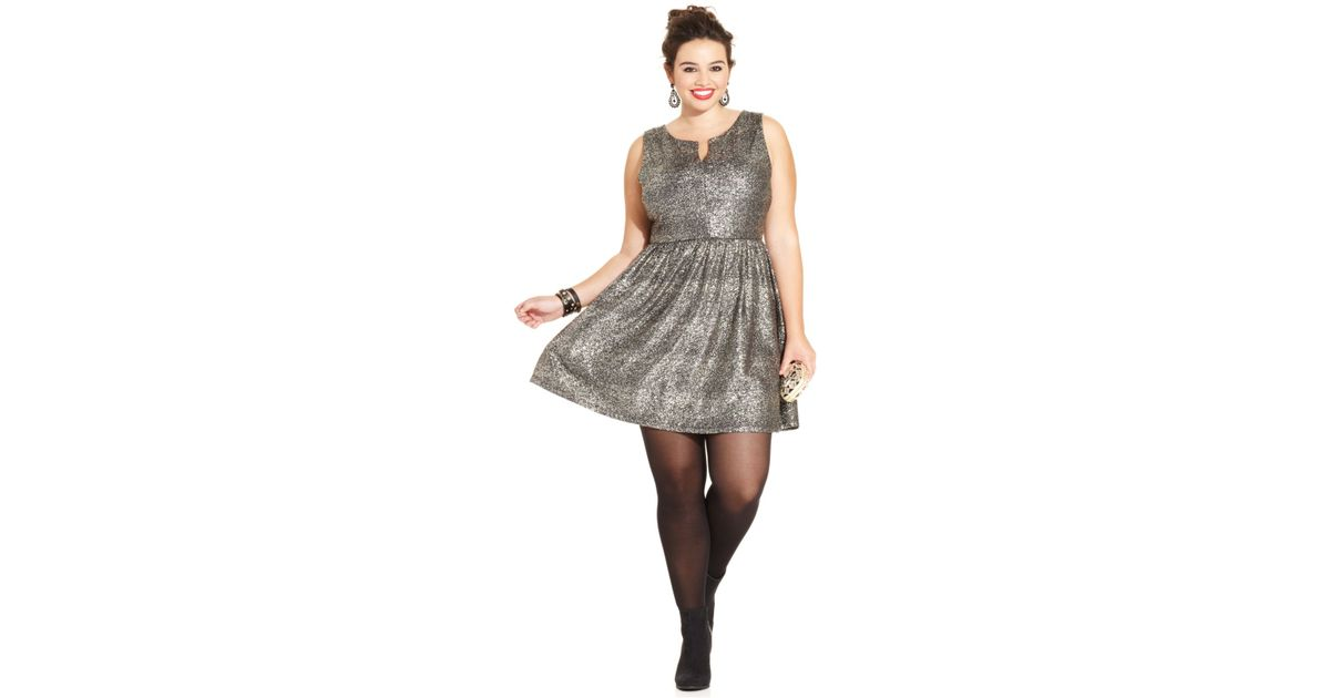 Soprano Gray Plus Size Metallic A-Line Dress