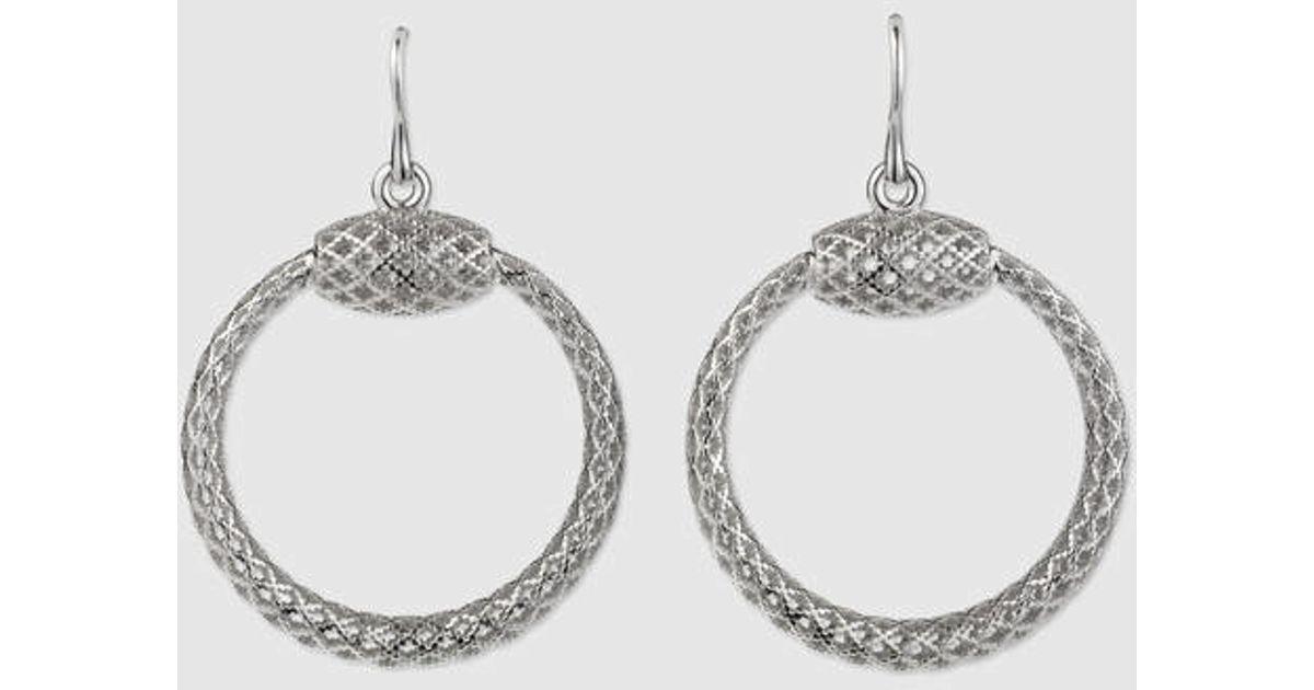 c83da331c0d Lyst - Gucci Sterling Silver Horsebit Earrings in Metallic