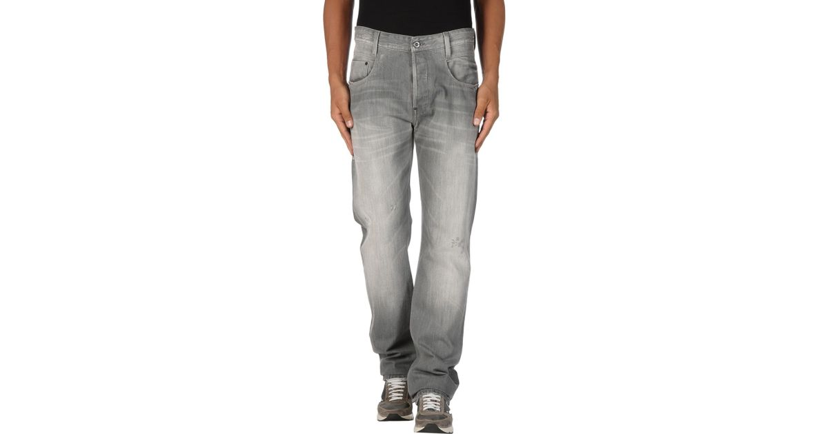 g star raw denim trousers in gray for men grey lyst. Black Bedroom Furniture Sets. Home Design Ideas
