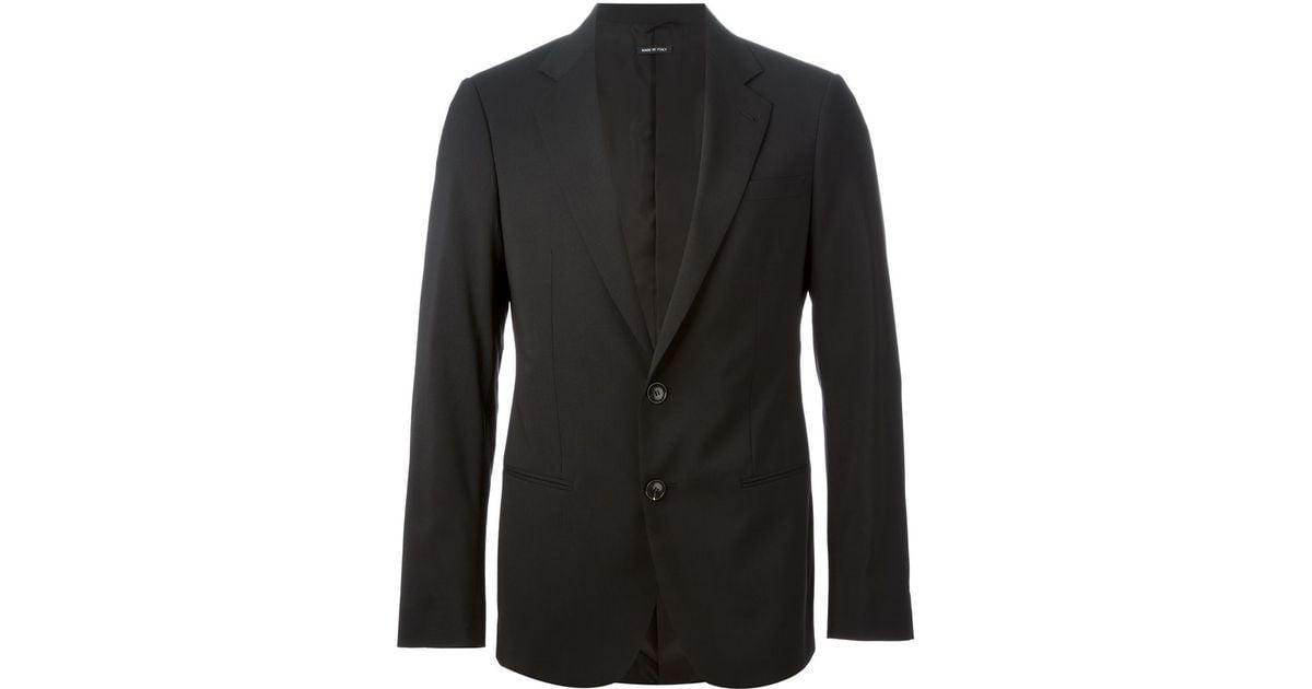 Giorgio armani Slim Fit Suit in Black for Men | Lyst