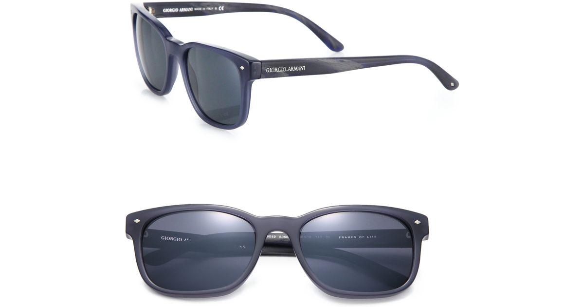 3abd3051c6e1 Giorgio Armani 56mm Acetate Square Sunglasses in Blue for Men - Lyst