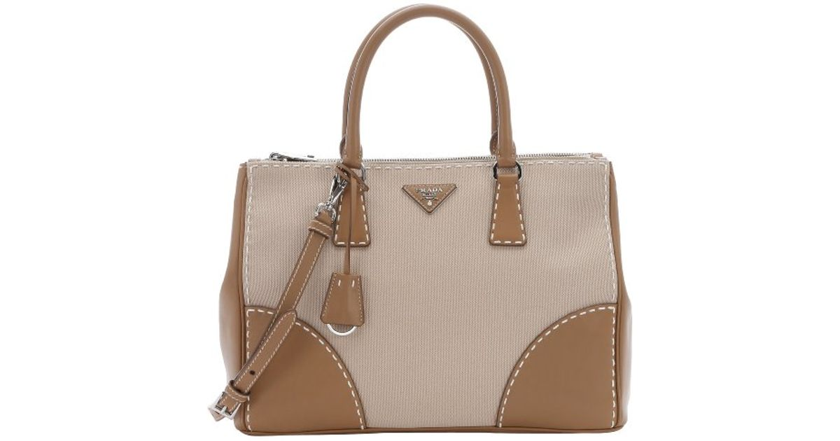 ee3d71df36b2 ... cheap lyst prada khaki canvas and leather convertible top handle bag in  natural c466c f2a67