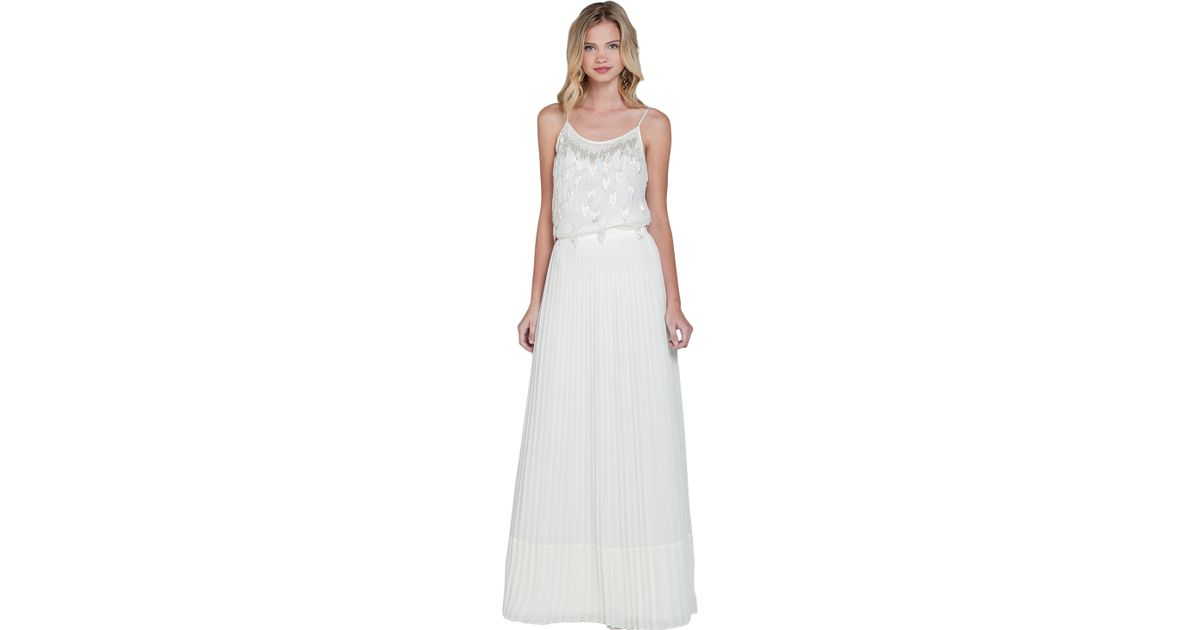 badgley mischka sheer pleated maxi skirt in white ivory