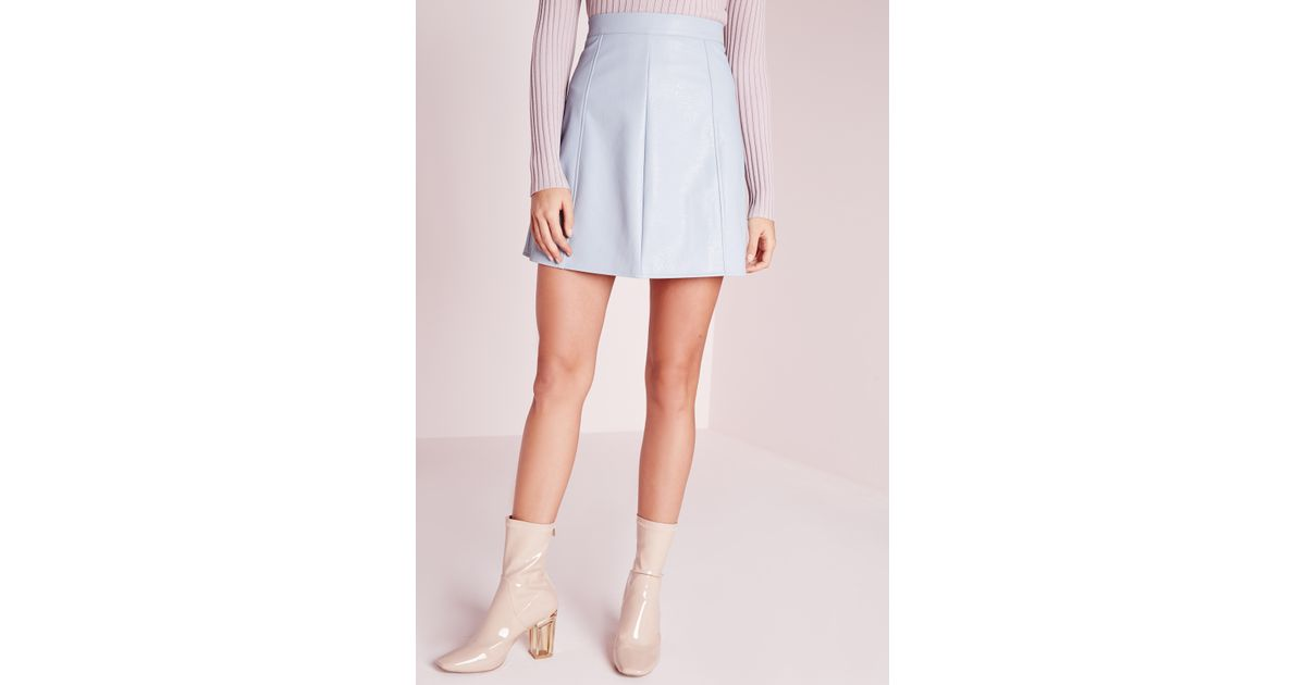 missguided faux leather a line mini skirt light blue in