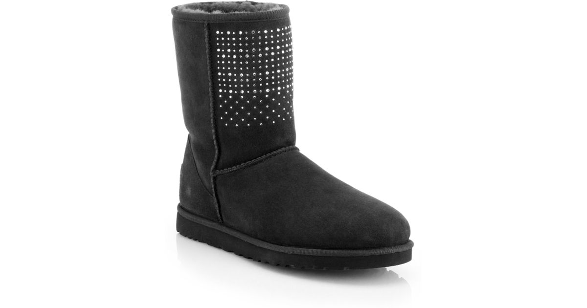 lyst ugg classic short suede bling boots in black rh lyst com