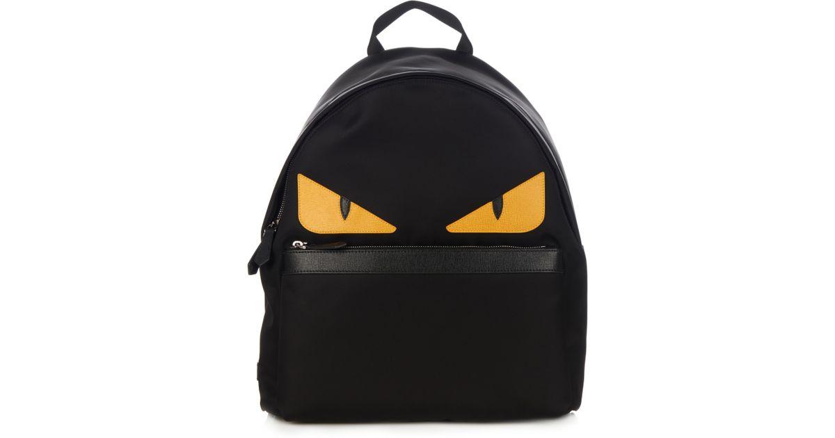 Fendi Black Bag Bugs Nylon And Leather Backpack For Men