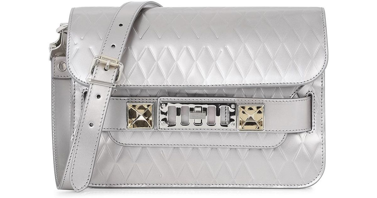 c096acfc791f Proenza Schouler Ps11 Silver Leather Shoulder Bag in Metallic - Lyst