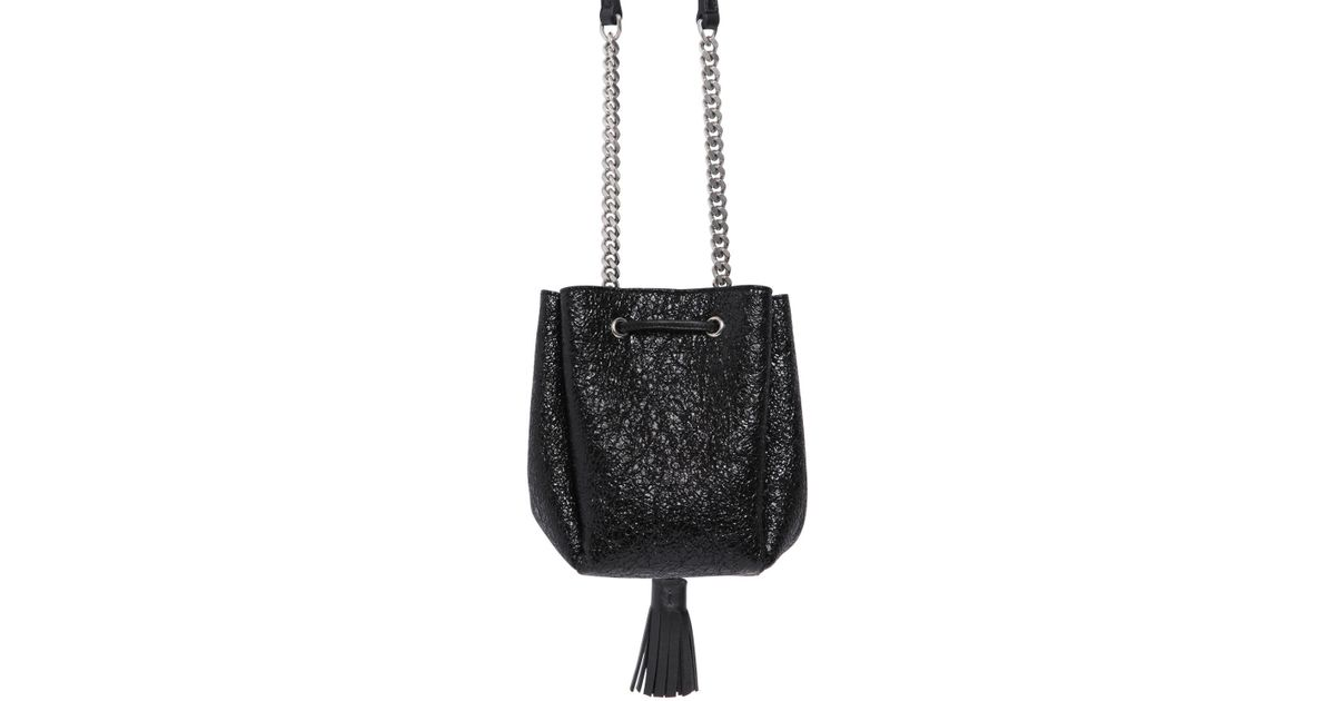 0ffe242462 Lyst - Saint Laurent Ysl Crackled Patent Leather Bucket Bag in Black