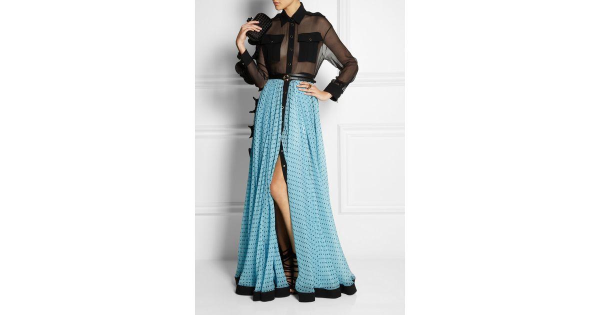 Emanuel ungaro Ruffle-Trimmed Silk-Chiffon Maxi Dress in Blue  Lyst
