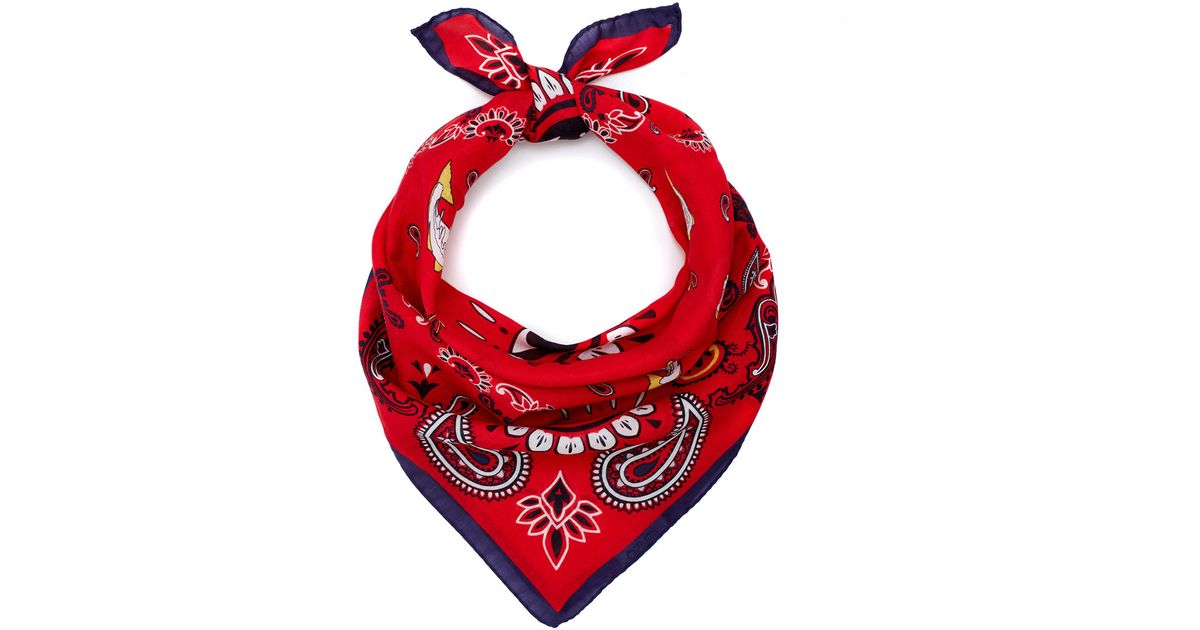 9cb1a5e4c KENZO Red Motif Bandana Cotton-Blend Scarf in Red - Lyst