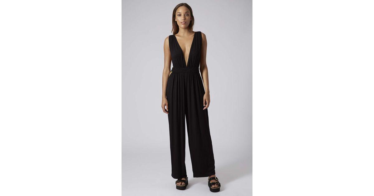 e3e810824fb Lyst - TOPSHOP Deep V Cutout Jersey Jumpsuit in Black